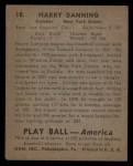 1939 Play Ball #18  Harry Danning  Back Thumbnail
