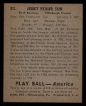 1939 Play Ball #83   Gus Suhr Back Thumbnail