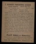 1939 Play Ball #7   Bobby Doerr  Back Thumbnail