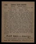 1939 Play Ball #104   Tommy Bridges Back Thumbnail