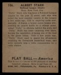 1939 Play Ball #106  Dolly Stark  Back Thumbnail