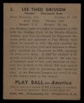 1939 Play Ball #2   Lee Grissom Back Thumbnail
