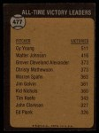 1973 Topps #477  All-Time Victory Leader  -  Cy Young Back Thumbnail