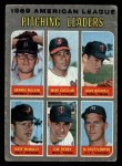 1970 Topps #70 ERR AL Pitching Leaders  -  Dave Boswell / Mike Cuellar / Dennis McLain / Dave McNally / Jim Perry / Mel Stottlemyre Front Thumbnail