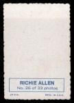 1969 Topps Deckle Edge #26   Dick Allen    Back Thumbnail