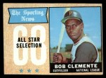 1968 Topps #374  All-Star  -  Roberto Clemente Front Thumbnail