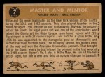 1960 Topps #7  Master & Mentor  -  Willie Mays / Bill Rigney Back Thumbnail