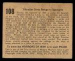 1938 Gum Inc. Horrors of War #108  Gibraltar Gives Refuge to Spaniards  Back Thumbnail