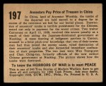 1938 Gum Inc. Horrors of War #197  Ancestors Pay Price of Treason in China  Back Thumbnail