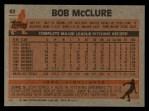 1983 Topps #62   Bob McClure Back Thumbnail