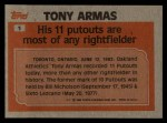 1983 Topps #1  Record Breaker  -  Tony Armas Back Thumbnail