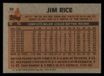 1983 Topps #30   Jim Rice Back Thumbnail