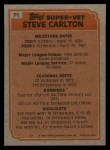 1983 Topps #71  Super Veteran  -  Steve Carlton Back Thumbnail