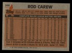 1983 Topps #200   Rod Carew Back Thumbnail