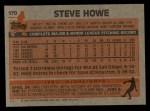 1983 Topps #170  Steve Howe  Back Thumbnail