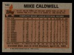 1983 Topps #142  Mike Caldwell  Back Thumbnail