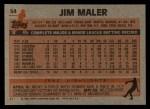 1983 Topps #54  Jim Maler  Back Thumbnail