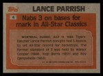 1983 Topps #4  Record Breaker  -  Lance Parrish Back Thumbnail
