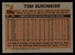 1983 Topps #213   Tom Burgmeier Back Thumbnail