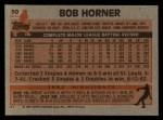 1983 Topps #50   Bob Horner Back Thumbnail