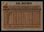 1983 Topps #67  Sal Butera  Back Thumbnail