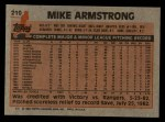 1983 Topps #219  Mike Armstrong  Back Thumbnail