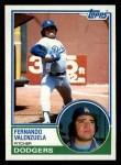 1983 Topps #40  Fernando Valenzuela  Front Thumbnail