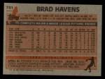 1983 Topps #751   Brad Havens Back Thumbnail