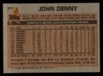 1983 Topps #211  John Denny  Back Thumbnail