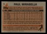 1983 Topps #12  Paul Mirabella  Back Thumbnail