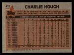 1983 Topps #479   Charlie Hough Back Thumbnail