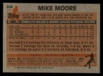 1983 Topps #209  Mike Moore  Back Thumbnail