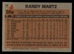 1983 Topps #22  Randy Martz  Back Thumbnail