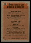 1983 Topps #36   -  Rollie Fingers Super Veteran Back Thumbnail
