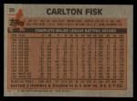 1983 Topps #20  Carlton Fisk  Back Thumbnail