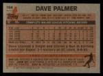 1983 Topps #164  Dave Palmer  Back Thumbnail