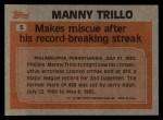 1983 Topps #5  Record Breaker  -  Manny Trillo Back Thumbnail