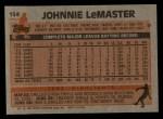 1983 Topps #154   Johnnie LeMaster Back Thumbnail