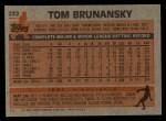 1983 Topps #232  Tom Brunansky  Back Thumbnail