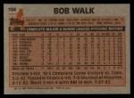 1983 Topps #104  Bob Walk  Back Thumbnail