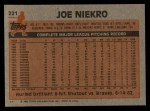 1983 Topps #221  Joe Niekro  Back Thumbnail