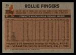 1983 Topps #35  Rollie Fingers  Back Thumbnail