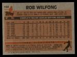 1983 Topps #158  Rob Wilfong  Back Thumbnail