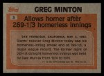1983 Topps #3  Record Breaker  -  Greg Minton Back Thumbnail