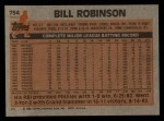 1983 Topps #754  Bill Robinson  Back Thumbnail