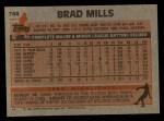 1983 Topps #744   Brad Mills Back Thumbnail