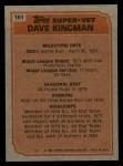 1983 Topps #161  Super Veteran  -  Dave Kingman Back Thumbnail