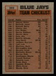 1983 Topps #202  Blue Jays Leaders  -  Dave Stieb / Damaso Garcia Back Thumbnail