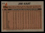 1983 Topps #672  Jim Kaat  Back Thumbnail