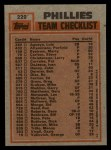 1983 Topps #229  Phillies Team Leaders  -  Bo Diaz / Steve Carlton Back Thumbnail